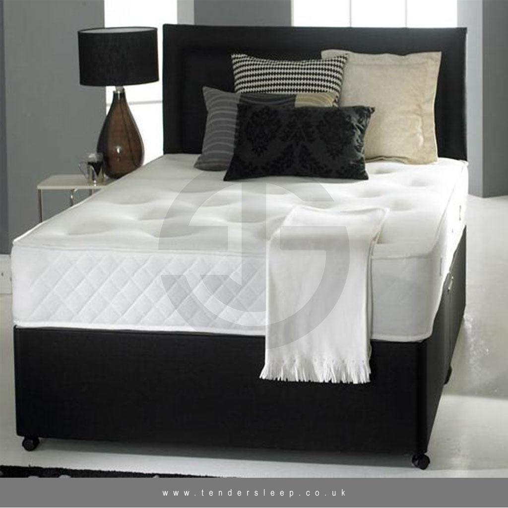 BRAND NEW BLACK PLUSH VELVET MEMORY DIVAN BED 3FT 4FT 4FT 6 DOUBLE 5FT 6FT
