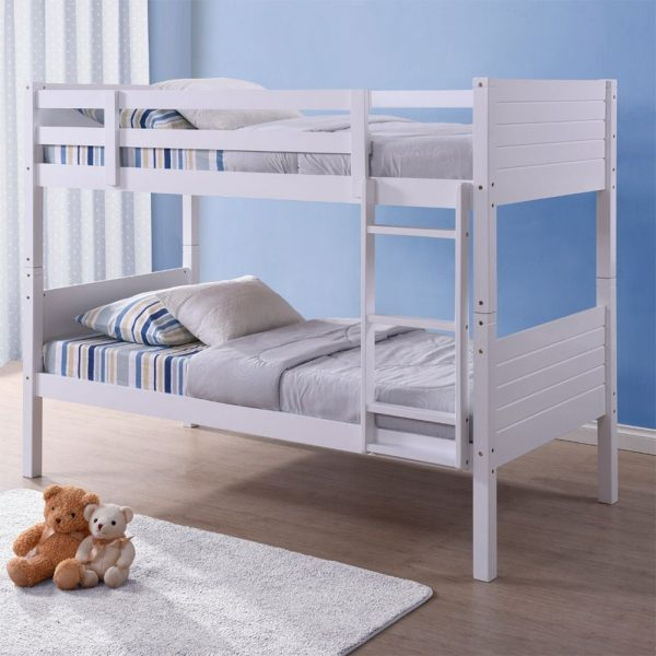 White Single wooden bunk bed