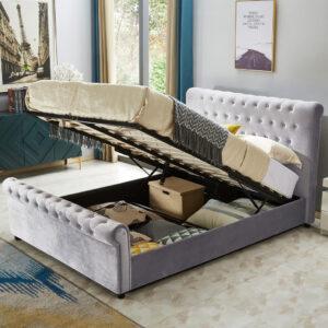 Grey Sleigh Ottoman Storage Bed