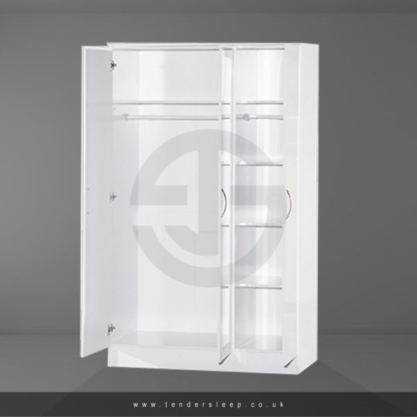 Alpha High Gloss 3 Door Triple Mirror Wardrobe Interior in White Colour