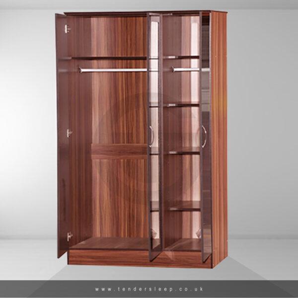 Alpha High Gloss 3 Door Triple Mirror Wardrobe Interior