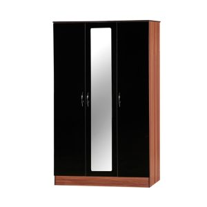 Alpha 3 door wardrobe black and walnut