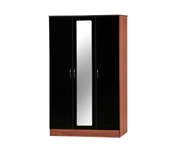 Alpha 3 door wardrobe black and walnut