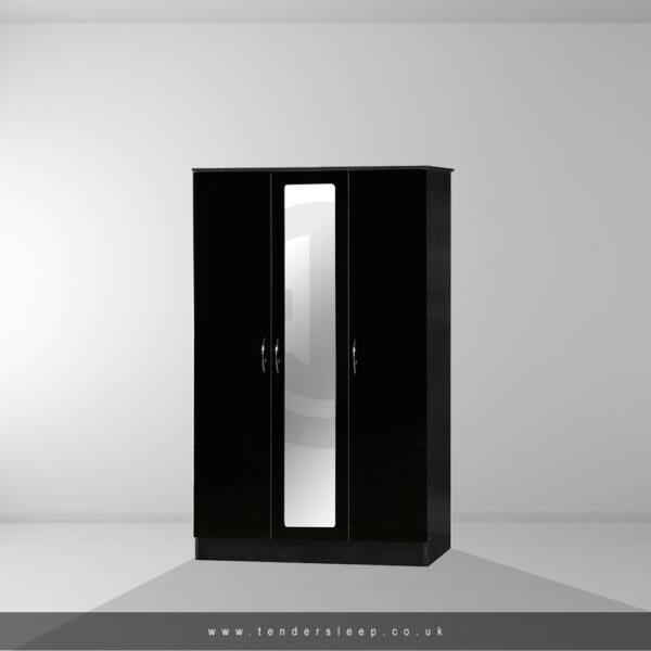 Alpha High Gloss 3 Door Triple Mirror Wardrobe