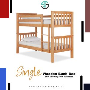 Single Wooden Bunk Bed with Memory Foam Mattress