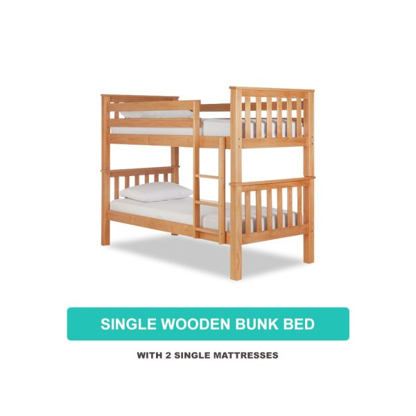 Single Wooden Bunk Bed with 2 Single Mattresses
