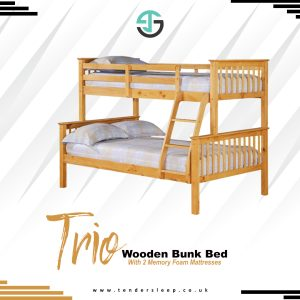 Trio Wooden Bunk Bed with Memory Foam Mattress