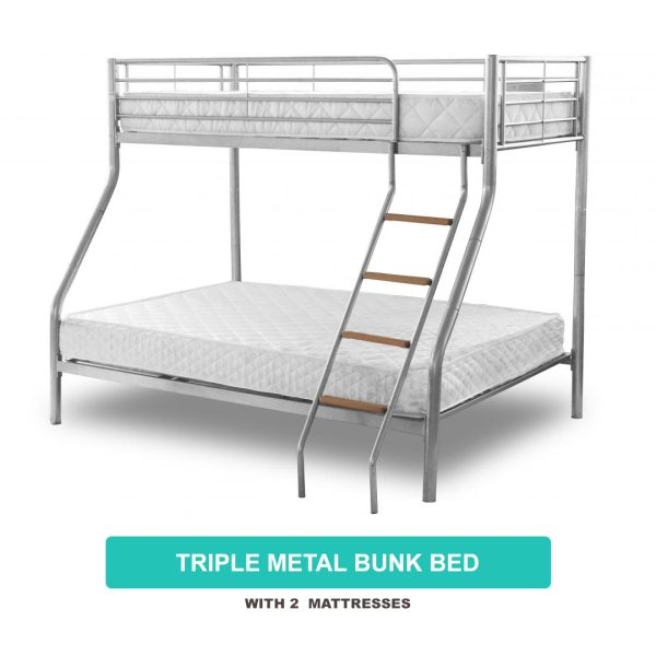 Triple Metal Bunk Bed with Mattresses