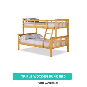 Triple Wooden Bunk Bed with Mattresses