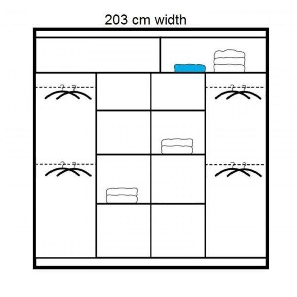 203cm wardrobe interior