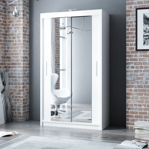 Berlin Wardrobe 120cm Wide – 2 Sliding Mirror Doors