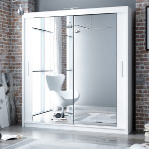 white 203cm Berlin Sliding Mirror Door Wardrobe