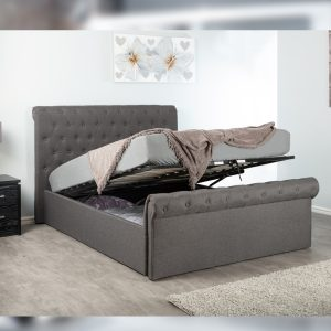 Grey Double Fabric Ottoman Storage Bed