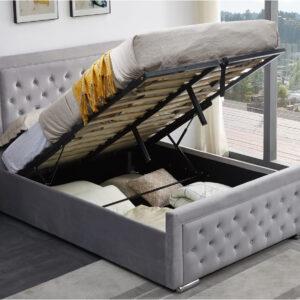 Plush Velvet Heaven Ottoman Storage Bed