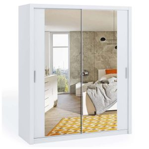 White 180cm Bonito Sliding Mirror Door Wardrobe
