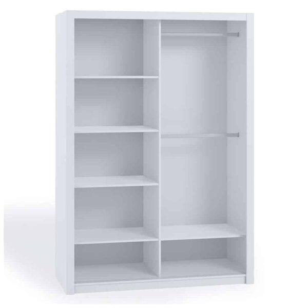 White 180cm Bonito Sliding Mirror Door Wardrobe interior