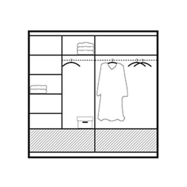 208cm Marsylia Grey Wardrobe Interior