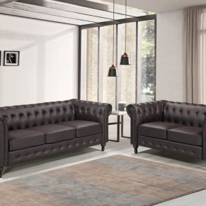 PU Leather Chesterfield Sofa
