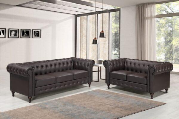 PU Leather Chesterfield Sofa