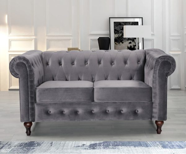 2 Seater Grey Chesterfield Fabric Sofa