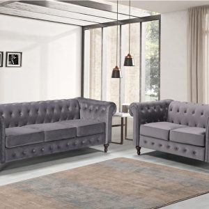 Grey Chesterfield Fabric Sofa 3 and 2 Seater