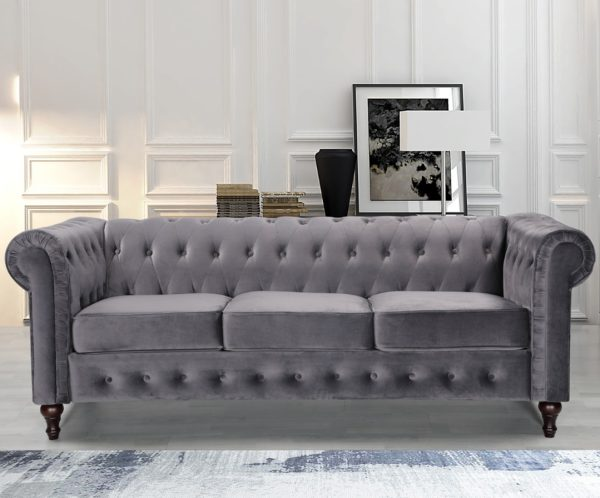3 Seater Grey Chesterfield Fabric Sofa