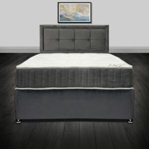 Eden Grey Luxury Plush Velvet Divan Bed
