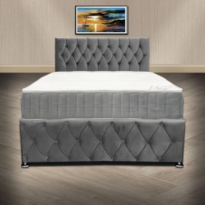 Grey Plush Velvet Chesterfield Divan Bed